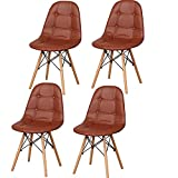 EGOONM Sillas de Comedor Nordicas Pack 4, Silla de Oficina Suave para la Cena, Estudio, Trabajo, Maquillaje (marrón-4)