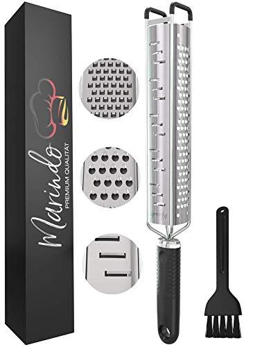 Marindo® Rallador cocina | 3 en 1 Zester para rallar, rebanar y raspar | con 3 cuchillas de acero inoxidable afiladas| rallador de verduras manual