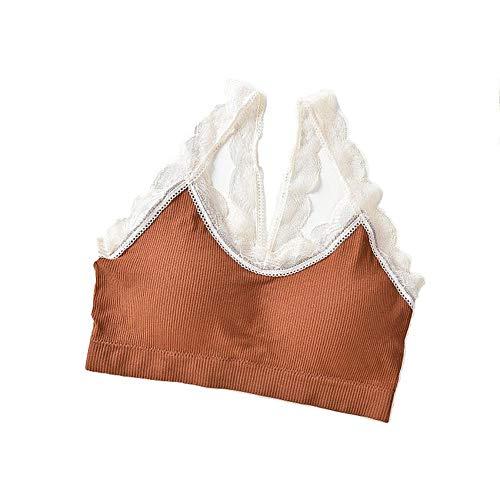 Mike Wodehous Fairy Lace Tube Top Mädchen Schönheit zurück gewickelt Brust Lady Nahtlose Unterwäsche weibliche Palm Cover Cup Student Weste BH (Color : Caramel)