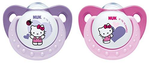 NUK Trendline Silikon-Schnuller Hello Kitty Größe 1 (0-6 Monate), kiefergerechte Form, BPA frei, Farbe nicht frei wählbar, 2 Stück