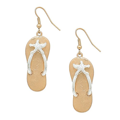 Liavy's Two Tone Starfish Flip-Flop Sandals Fashionable Metal Earrings - Fish Hook - Silver Starfish