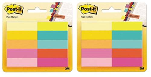 Post-it Page Markers, Assorted Bright Colors, 1/2 x 2-Inches, 50-Markers/Pad, 10-Pads/Pack, 2-Pack