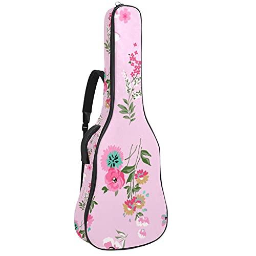 Patrón floral sin costuras moderno en Vector, bolsa de transporte para guitarra, mochila protectora impermeable con asa de transporte para guitarras acústicas, clásicas y eléctricas