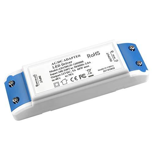 Trasformatore LED, MEKEET 60W LED Drive Alimentatore 12V DC 5A Adattatore trasformatore driver LED per strisce LED, luci per armadi e G4, MR11, MR16
