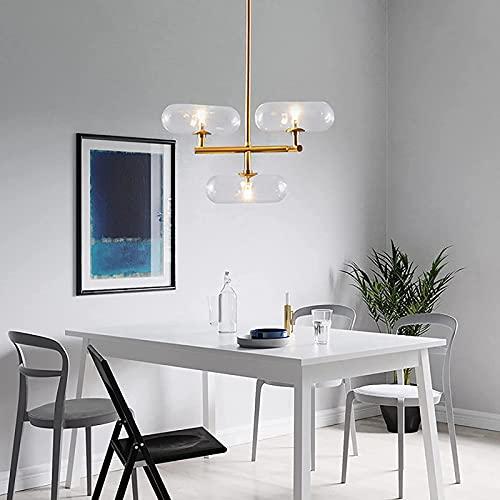 dh-20 Lámpara Colgante de araña artística Simple, luz de Techo con Pantalla de Vidrio Transparente, luz Colgante Decorativa Elegante, Adecuada para Sala de Estar y Comedor