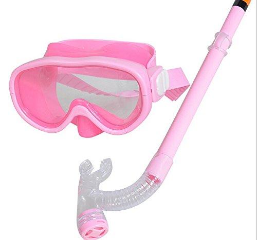 Hivel Kit De Lunettes De Protection Masque Tuba Snorkeling et Plongee pour Enfant Lunettes Natation Swimming Diving Dive Scuba Mask - Rose