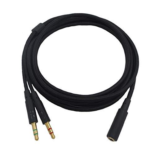 Jerilla Cable Divisor de Auriculares 2en1 para HyperX Cloud Core/HyperX Cloud II/Cloud Mix/Cloud Flight/Alpha - Adaptador de PC de Cordón de Audio con Conector Macho Dual de 3.5mm