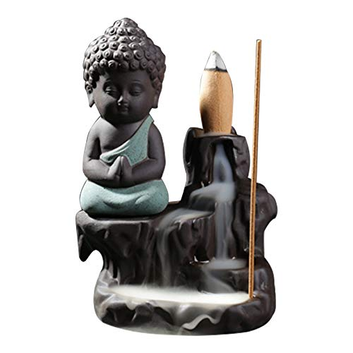 Incense Burner,Incense Burner Smoke Waterfall Backflow Holder Ceramics Porcelain Buddha Little Monk Tower Cones Sticks Ash Catcher with 5 Backflow Incense Cones (Green)