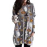 Womens Halloween Sweatshirts Pumpkin Long Sleeve Round Neck Pocket T Shirts Blouse Pullover Tops (Grey, Large)