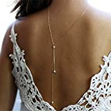 TseenYi - Collar de espalda, largo, de perlas, con cadena de color dorado, para novia, collar de perlas lariat, joyería para mujeres y niñas (dorado)