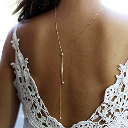 TseenYi Collar de perlas en la parte posterior de la gota dorada, collar largo de la parte posterior de la gota de oro, collar de cadena nupcial y Lariat, joyería de la parte posterior de la boda