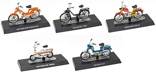 - Lote de 5 ciclomotores míticos 1/18: Peugeot 104 + Solex + Motobécane + Mobix + OMER Mon AMI (M: 11 + 17 + 20 + 35 + 43)
