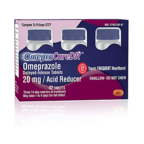 OmepraCareDR 42 Count Tablets Omeprazole 20mg Acid Reducer for Heartburn (14 Tablets/Bottle) One 3-Pack Carton for Three 14-Day Treatments, Delayed-Release Tablets