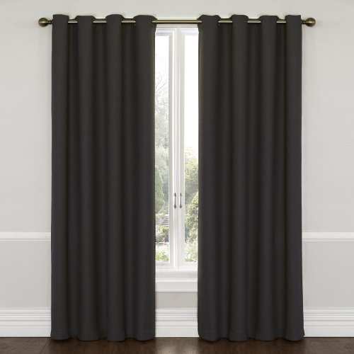 """ECLIPSE Wyndham Thermal Insulated Single Panel Grommet Top Darkening Curtains for Living Room, 52"""" x 84"""", Charcoal"""