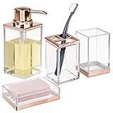 mDesign Juego de 4 accesorios para el baño – Porta cepillos de dientes, dosificador de jabón, jabonera de baño y vaso – Fabricados en plástico resistente – transparente/dorado rosa
