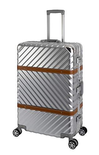 TRAVELHOUSE Paris Großer Reisekoffer Koffer Trolley Reisegepäck Größe: XL 2 integrierte TSA Schlösser 360° Doppelzwillingsrollen Polycarbonat Hartschale Alu-Teleskopgriff Silber Alu- Rahmen