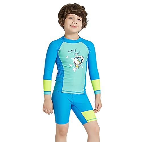 HWZZ Traje de neopreno para niños, traje de buceo de cuerpo completo, traje de baño con protección UV para esnórquel, surf, deportes acuáticos, azul, XL
