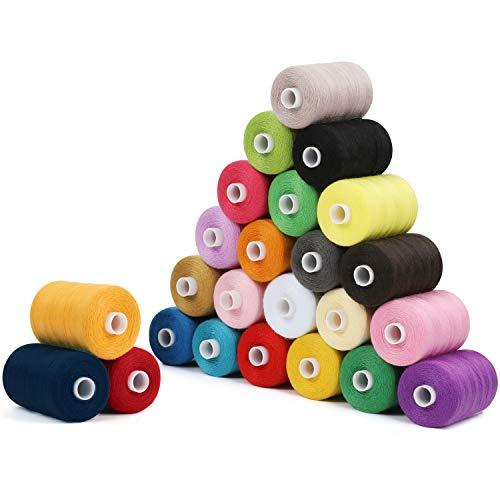 Curtzy Hilos de Coser para Maquina Set Carretes de Poliéster con Colores Variados (Pack de 24) - Bobinas 6 cm con 914 m – Kit 24 Colores Hilo de Coser a Mano y a Máquina