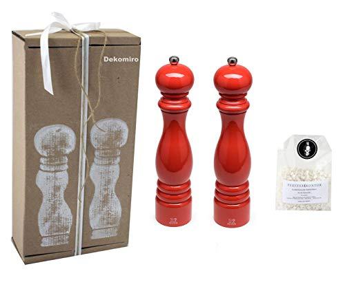 Peugeot Set Paris pepermolen en zoutmolen rood 30 cm Dekomiro cadeauset met 100 gr. Zout.