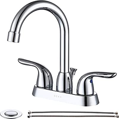 SOKA Two Handles Centerset Bathroom Faucet For Sink High Arc Stainless Steel With Deck Plate & Pop-Up Drain Assembly Fit 3 Hole Installation, Chrome (SK18001C)