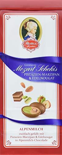 Reber Constanze Mozart-Schokis, Mini-Pralinés, Alpenmilch-Schokolade, Haselnuss-Nougat, Pistazien-Marzipan, Tolles Geschenk, 4 x 100 g