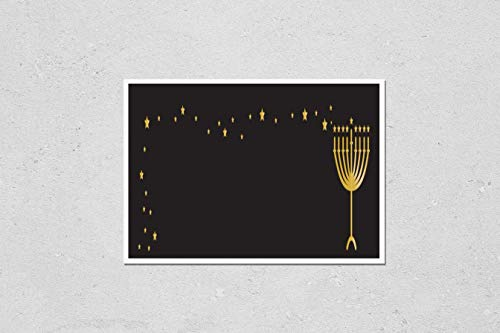 KwikMedia Poster Reproduction of Horizontal Hanukkah Banner - Gold Menorah with Candles and Stars on Black Background