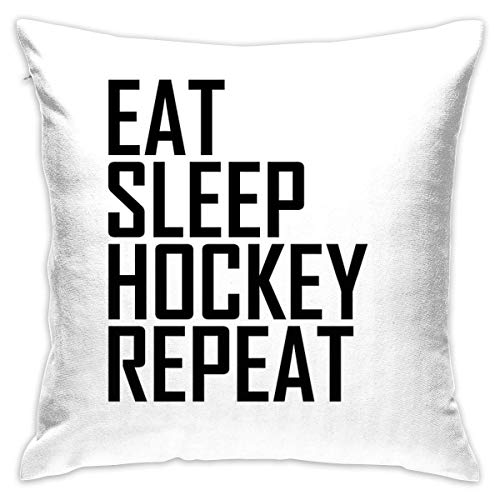 Eat Sleep Hockey Repeat- Funda de cojín decorativa para el hogar, sofá, cama, coche, 45,7 x 45,7 cm