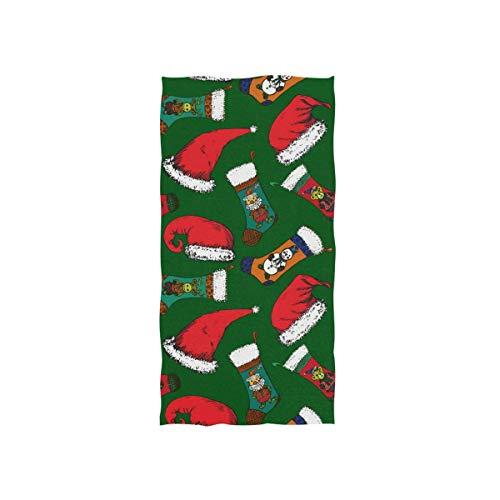 Rodde Handdoeken 15x30 Inch Kerstman Hoeden Kerst Sok met Beer Herten en Sneeuwman Yoga Gym Katoen Gezicht Spa Absorbens Multipurpose voor Badkamer Keuken Hotel Home Decor Set