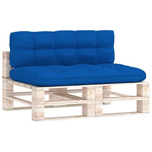 vidaXL Cojines para Sofá de Palets 2 Piezas Asiento Silla Respaldo Jardín Patio Balcón Terraza Exterior Suave Cómodo Decoración Azul Royal