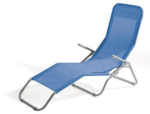 VERDELOOK Lettino Riccione da Spiaggia, 94x58x82 cm, Blu