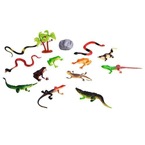 Emorefun Joe Jungle Plastic Animals Figure Toy Reptile Animal Rubber Model Figure Educational Toys Playset of 12 pcs
