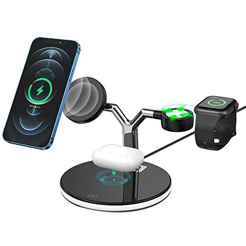 Kacsoo Cargador inalámbrico Rápido, Estación de Carga Inalámbrica 3 en 1 Soportes 15W de Carga de para 12 11 Pro MAX SE XR X 8 Plus, teléfono de Carga inalámbrico Android, iWatch 6 5 4 3 2 1 (Negro)