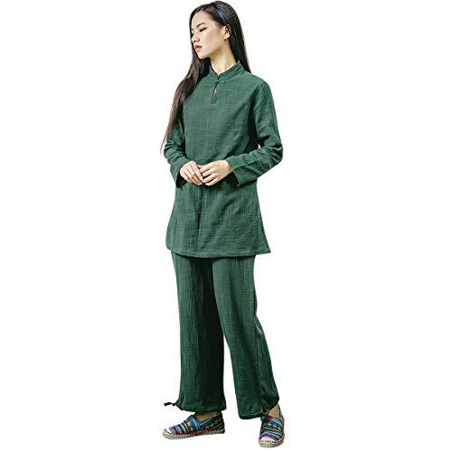 KSUA Abbigliamento da Donna Kung Fu Cinese Abito da Tai Chi Abito da Yoga in Cotone per la Meditazione Zen Arti Marziali, Verde Scuro EU XL/Etichetta XXL