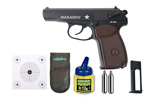 Outletdelocio.. Pistola Airsoft Makarov metálica. Calibre 6mm + Cargador + Portabombonas + dianas + CO2 + Bolas. 21993/23054