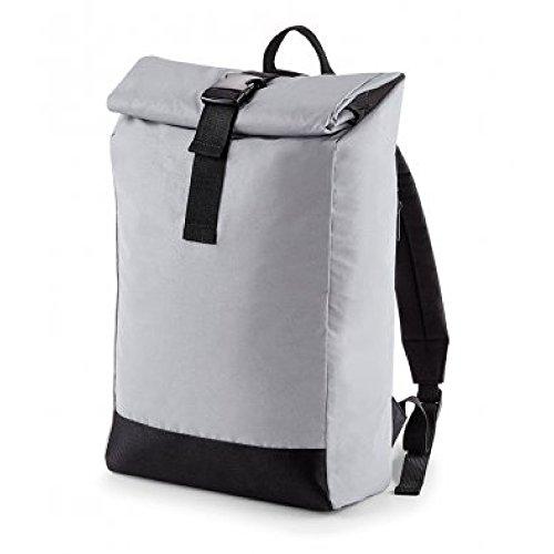 BagBase Reflektierender Rolltop Rucksack - Silver Reflective