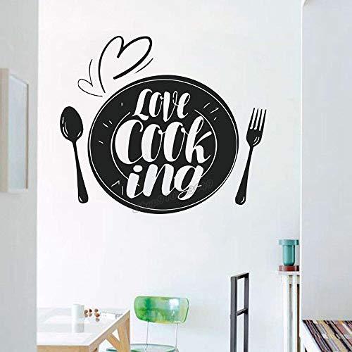 Etiqueta de la Pared de la Cocina Amor Cocina Arte Cuchillo Tenedor Cuchara Etiqueta de la Pared Etiqueta de la Pared de la Cocina Diseño Etiqueta de la Cocina 49x42cm