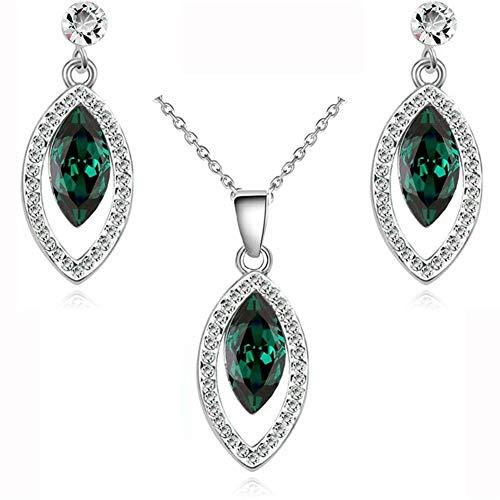 LABAICAI Neue Ankunft erstaunliche Marke Hochzeit Braut österreichischen Kristall Wassertropfen Schmuck Sets Mode Halskette Ohrringe (Metal Color : Crystal Green)
