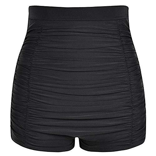 YEBIRAL Große Größen Vintage Damen Bikinihose Bikinislip Frauen hoher Taille Bikini Hose mit Raffungen High Waist Ruched Badehose Shorts Bauchweg(L,A-01Schwarz)