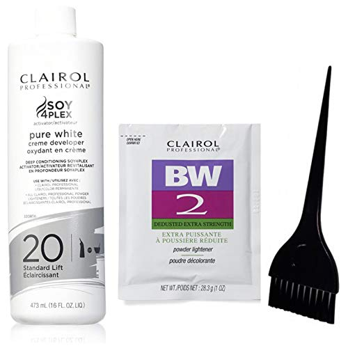 Clairol Professional Soy4plex Pure White Creme Hair Color Developer 16 oz, 20 Volume (Including Clairol BW2 Extra Strength Powder Lightener & Large Applicator Dye Brush) Hair Coloring Dye Kit