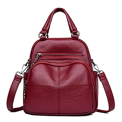 Mochila de hombro para mujer, bolsa cruzada para mujer, mochila casual con múltiples bolsillos para la escuela, bolsa para niña, bolsa de gran capacidad (color rojo vino, tamaño: XXL)