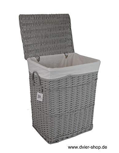 dvier 02HgRt-a Wäschekorb, Weide, wasch grau, BxTxH 32x24x47