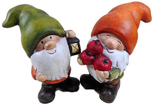 N / A 2er Set Wichtel mit Laterne und Früchten 16 x 11 cm Herbstdeko Herbst Zwerg Figur Deko 52.3866