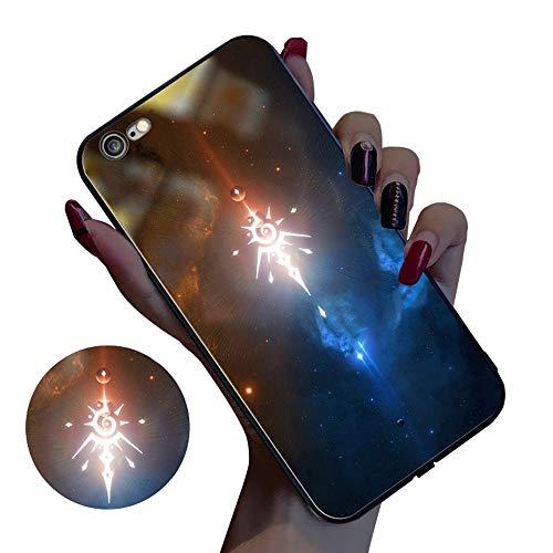Mbswdd beschermhoes voor iPhone 7 Plus, hardglas, met Glow Light Up logo voor iPhone 8 Plus, schokbestendig, slank, eenvoudig te bedienen en te installeren voor iPhone X/XS/XR/XS, A, iPhone X/XS