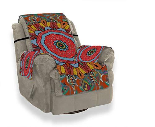 JEOLVP Abstrakte quadratische runde Mandala-dekorative Hussen für Esszimmerstühle Sofa-Abdeckungs-Satz-Abdeckungen für Sofas Möbel-Schutz für Haustiere, Kinder, Katzen, Sofa