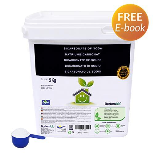 NortemBio Bicarbonato de Sodio 5 Kg, Insumo Ecológico de Origen Natural, Libre de Aluminio, Producto CE.