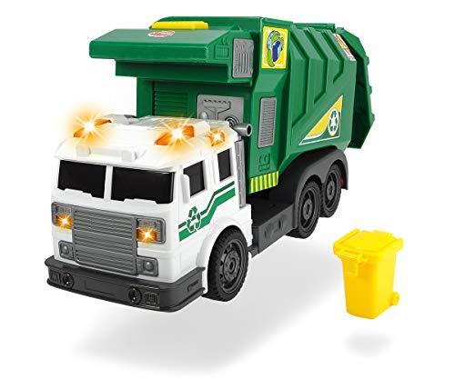 Dickie Toys City Cleaner, Straßenfahrzeug, Straßenreinigung, Müllauto, batteriebetriebener Lift für Mülltonne, Heckklappe zum Öffnen, Kippfunktion, inkl. Batterien, 39 cm, grün, ab 3 Jahren