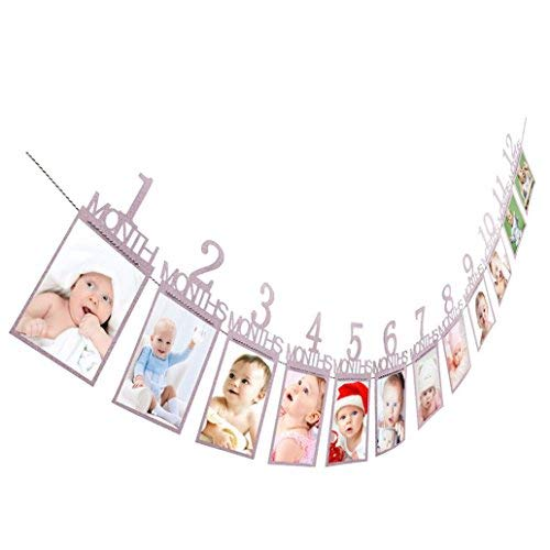 1-12 Month Photo Banner Monthly Photo Wall Kids Birthday Gift Decorations (Purple)
