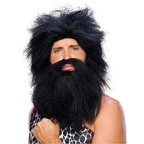LKJJTG Peluca Rendimiento de Halloween Dress Up Pelucas Pelucas aborígenes Pelucas Salvajes Pelucas de Cabeza + Barba Adecuado para Pelucas de Fiesta, Peluca