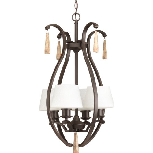 "Progress Lighting P3626-20 Transitional 4-Lt. Foyer Fixture from Club Collection Dark Finish, 31.38"" x 18"", Antique Bronze"