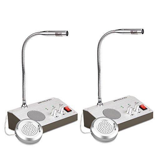Retevis RT9908 Intercom System Gegensprechanlage Paging Mikrofon Anti-Interferenz Geräuschfrei Dual-Wege Tonaufnahme Interphone Tischmikrofon für Krankenhaus Bank (2 Stücke, Silber)